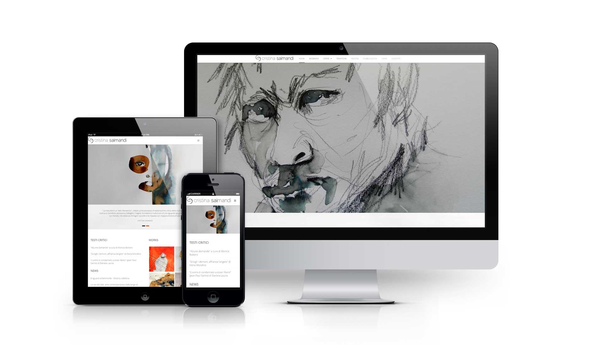 Realizzazione del portfolio web dell'artista pittrice e scultrice Cristina Saimandi